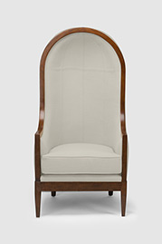 Porter chair in Perry Wool Cricket White with walnut finish