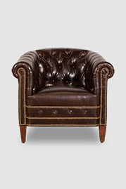 Collins tufted barrel chair in Kensington Borough Pub Bench brown leather