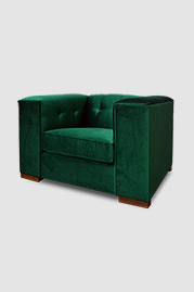 Jack armchair in Lafayette Great Lawn stain-proof green velvet