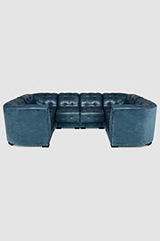 Freddie modular sectional in velvet and leather