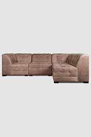 Freddie modular sectional in Burnham Dove leather