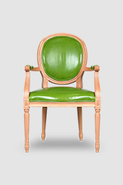 Louie II dining arm chair with natural finish and Chiaro Grass leather