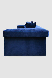 Baxter modular sofa in Como Indigo blue velvet with glider feet