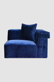 Baxter corner module in Como Indigo blue velvet with glider feet