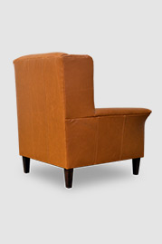 Pops modern tufted wingback chair in brown leather