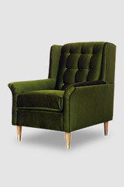 Pops armchair in Lafayette Green Grass stain-proof velvet