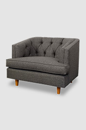 Olympia armchair in grey fabric