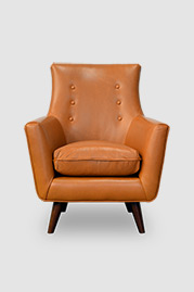 Gogo armchair in brown leather