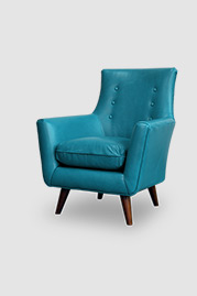 Gogo armchair in Cortina Bay 5625 blue leather