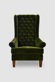 Inspector armchair in green velvet