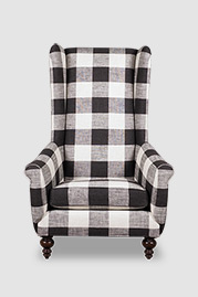 Inspector armchair with flush cushion and without tufting in Greenhouse Fabrics B9199 Thunder black and white plaid fabric