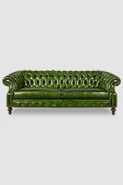 Cecil Chesterfield sofa in green leather