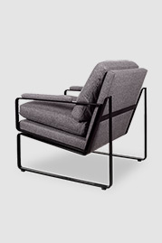 Weldon armchair in Harrison Wool Tweed and black metal finish with cushion back and seat