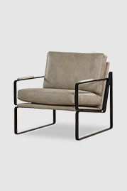 Weldon armchair in Run Wyld Cloudy Day performance leather and black metal finish with cushion back and seat