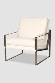 Weldon armchair in bronze metal finish with cushion back and seat