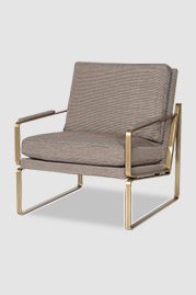 Weldon armchair in brass metal finish with cushion back and seat