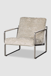 Weldon armchair in silver metal finish with tight back and seat