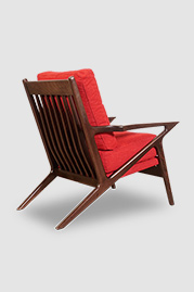 Benson MCM wood chair in walnut finish and Varick Pomegranate stain-proof fabric