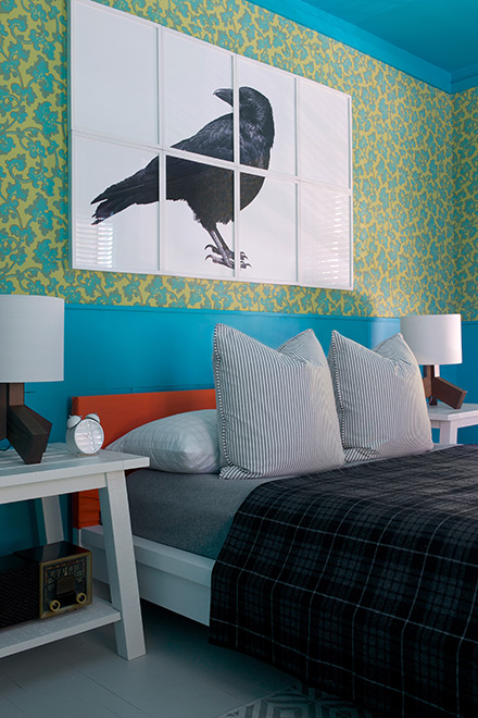 The finished bedroom is bursting with color.