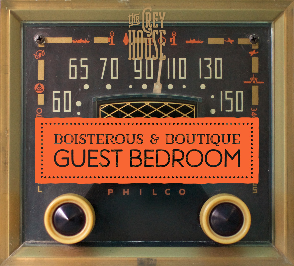 A vintage radio keeps guests entertained.