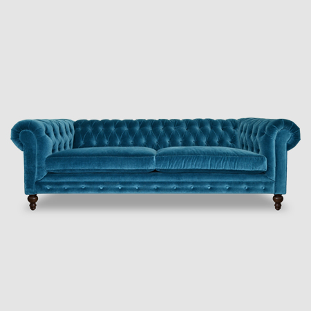 Blue velvet midcentury slope-arm loveseat