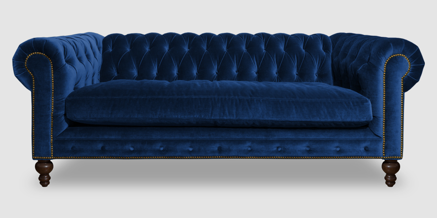 Teal blue velvet Chesterfield sofa