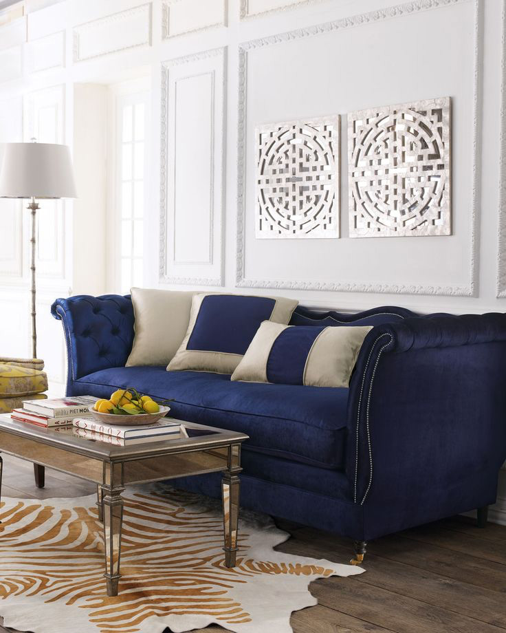 Tufted Blue Velvet Scroll Arm Sofa