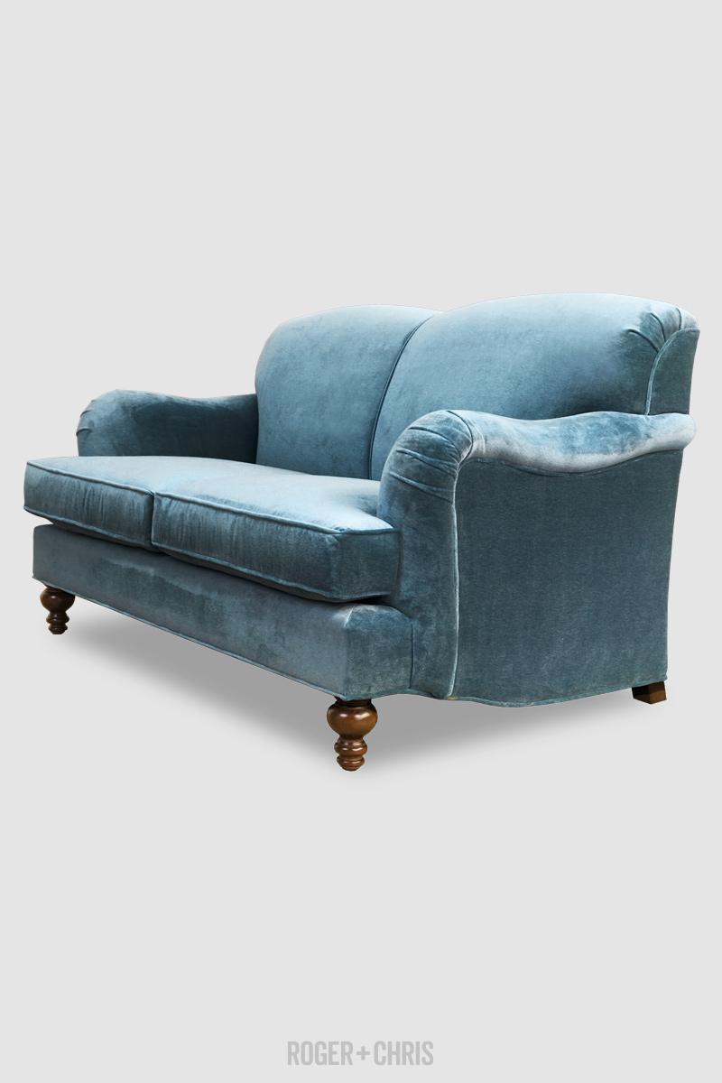 Basel Tight Back English Roll Arm Sofa In Corsica Mediterranean Stain Proof Blue Velvet Fabric Roger Chris