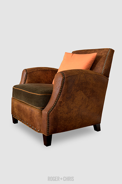 Howdy armchair in Ragtime destroyed leather with mohair seat