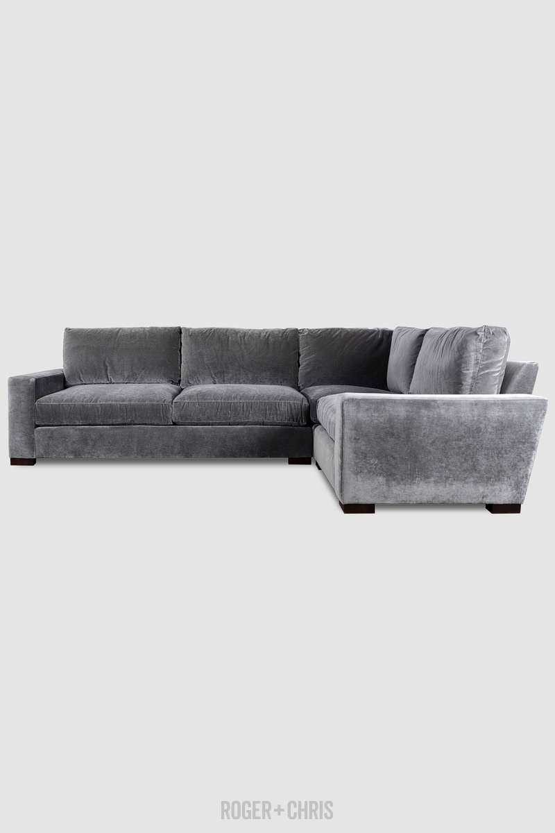Cole Sectional In Como Grey Cloud Velvet Fabric Gray