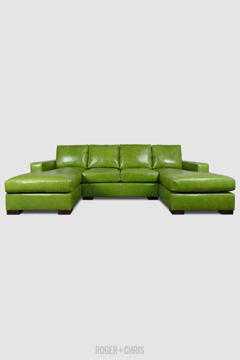 - Cole Dual-chaise Sectional In Absolute Kiwi Green Leather ROGER