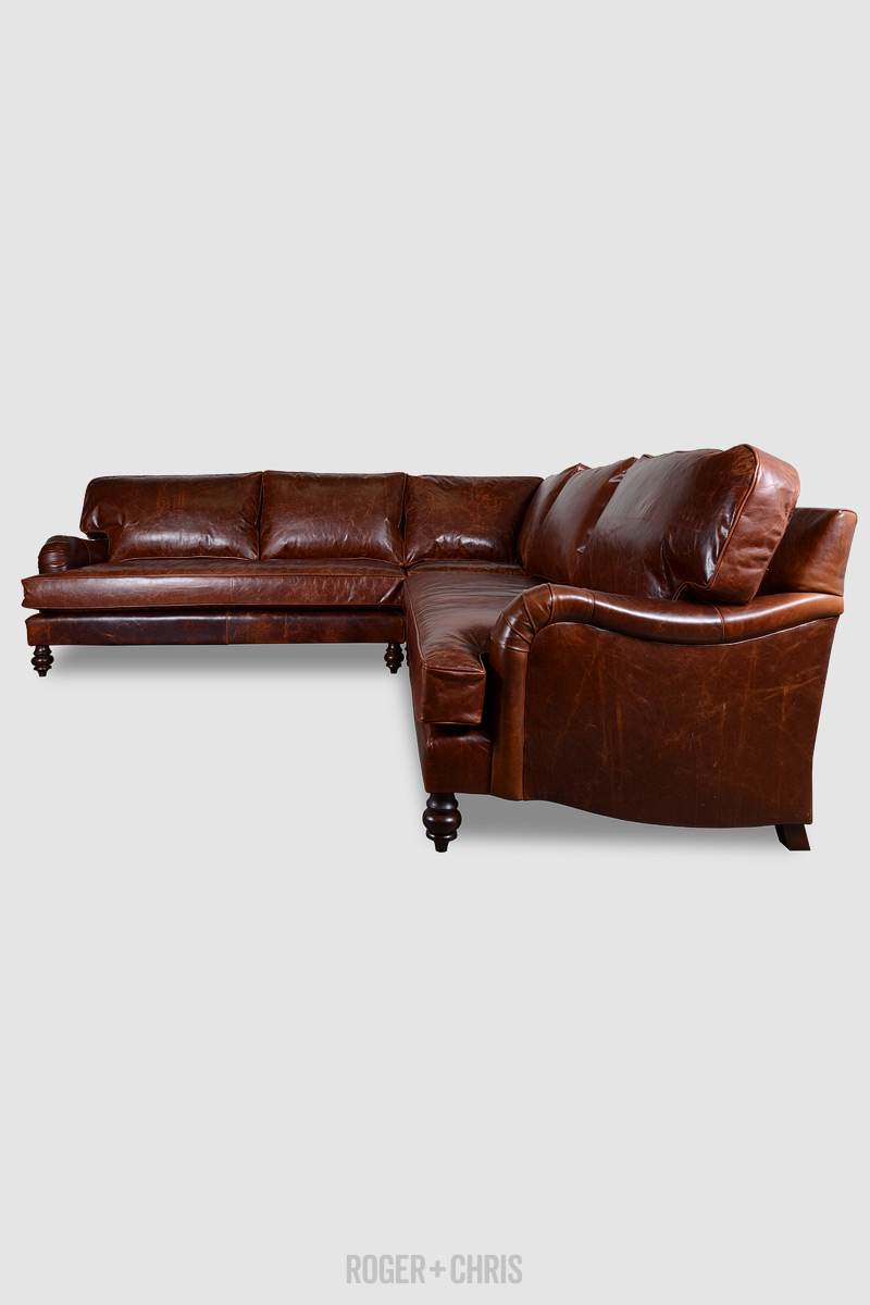 Blythe Square Corner Sectional In Echo Cognac Leather