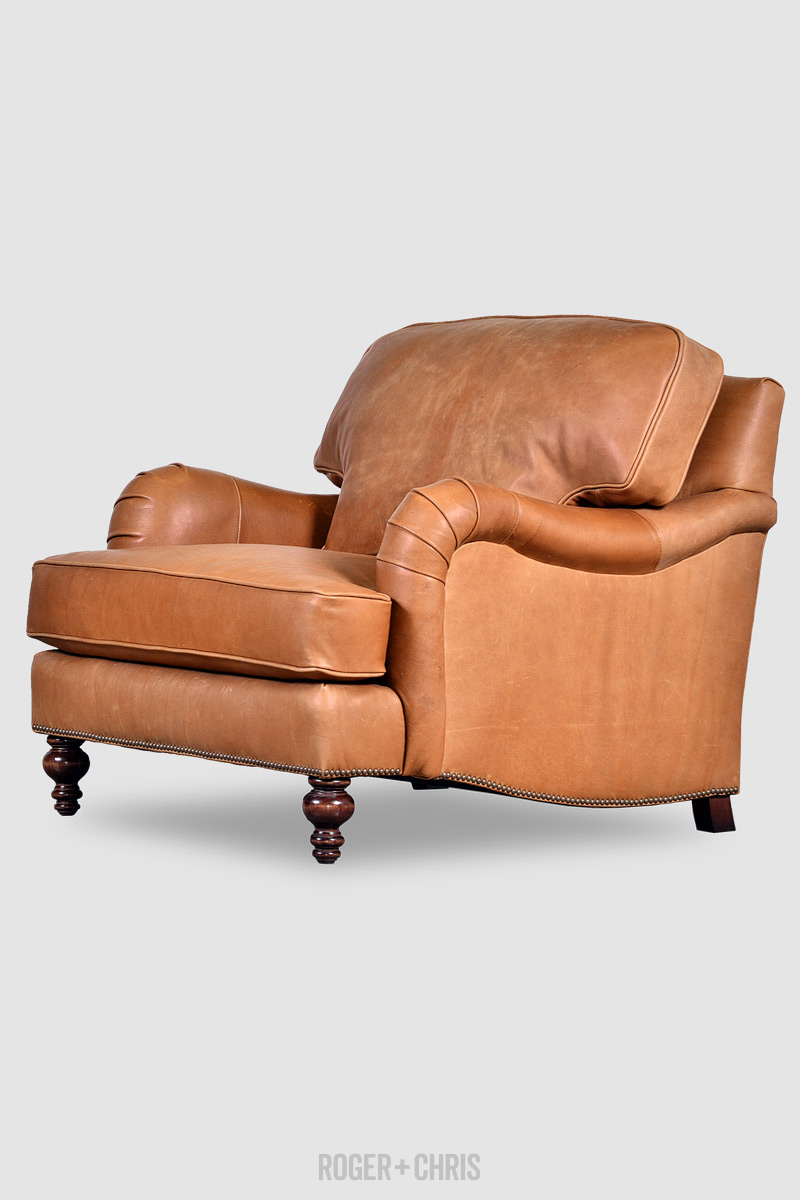 Blythe Pillow Back English Roll Arm Armchair In Harness Nut  ~ Rolled Arm Leather Sofa