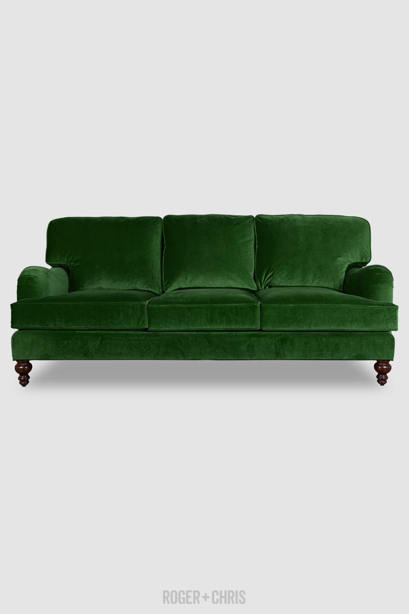 Blythe Pillow Back English Roll Arm Sofa In Como Emerald Green Velvet Roger Chris
