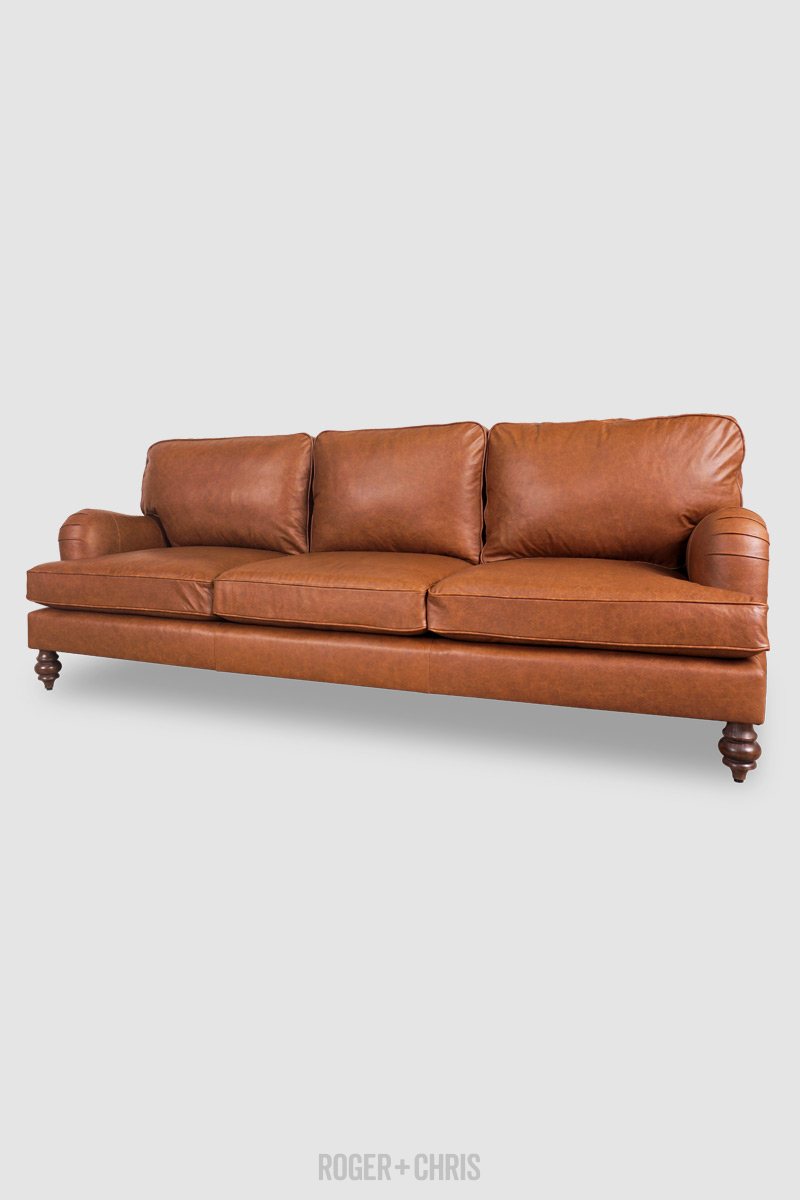 Blythe Pillow Back English Roll Arm Sofa In Cheyenne Stirrup Scratch Resistant Performance Leather Roger Chris