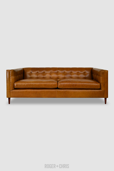 Atticus tuxedo sofa in brown leather