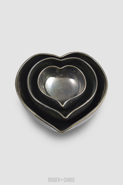 Heart-Shaped Nesting Bowls, Metal