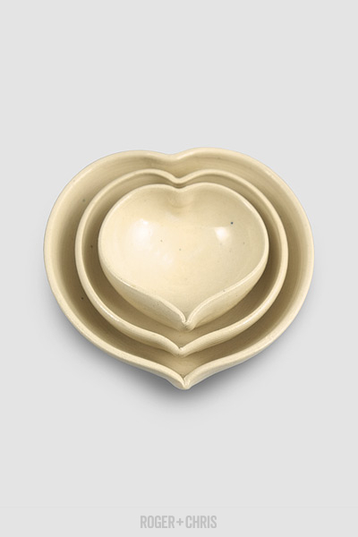 Heart-Shaped Nesting Bowls, Cream