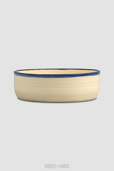 Dog Bowl, Cream with Blue