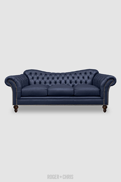 Watson sofa in Angelina Batik 6305 blue leather with nail head trim