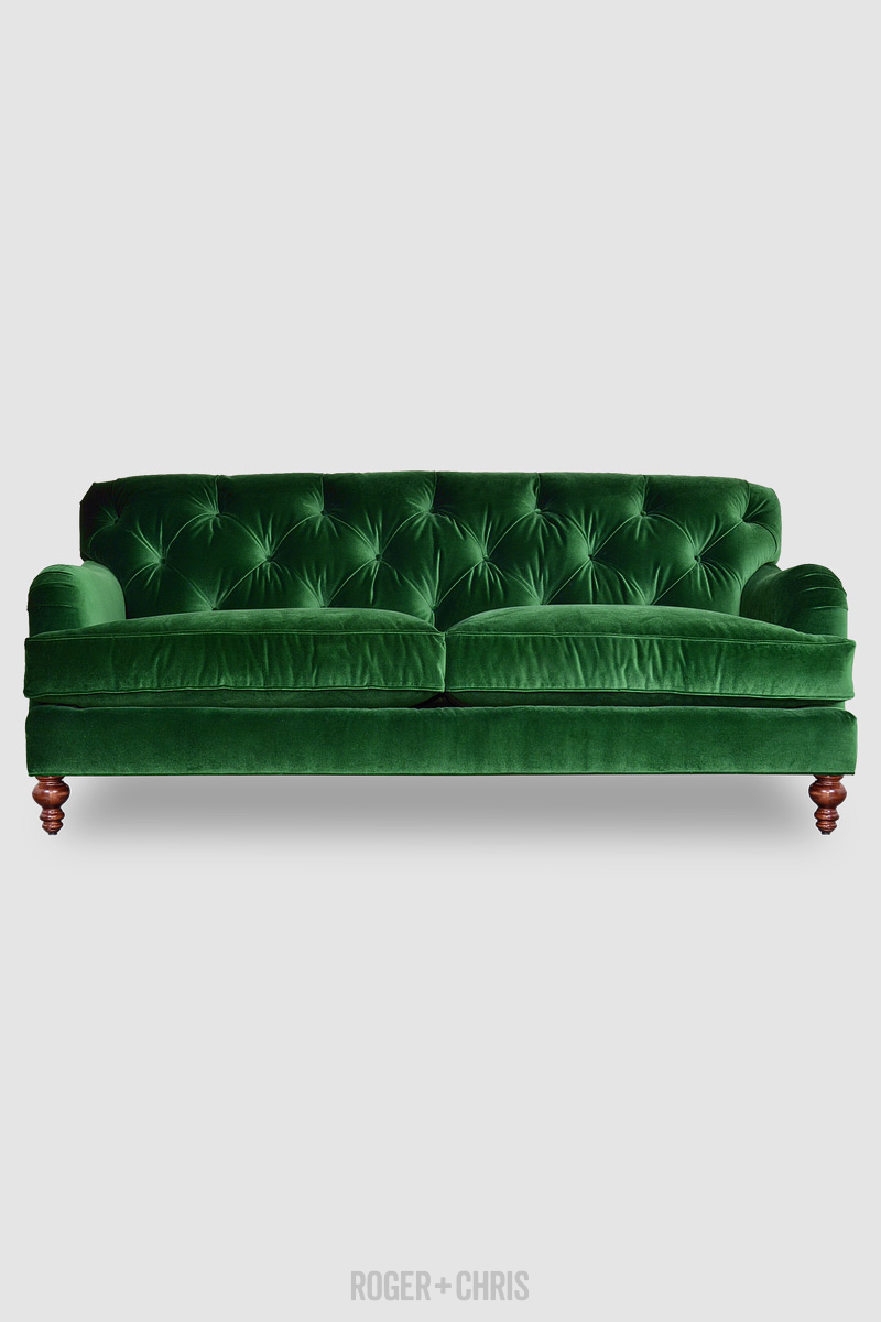 Alfie Tufted Sofa In Como Emerald Velvet Fabric Roger