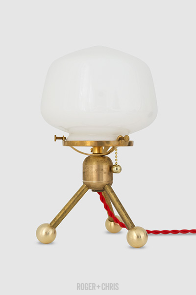 Little Satellight brass table lamp with red cloth wire