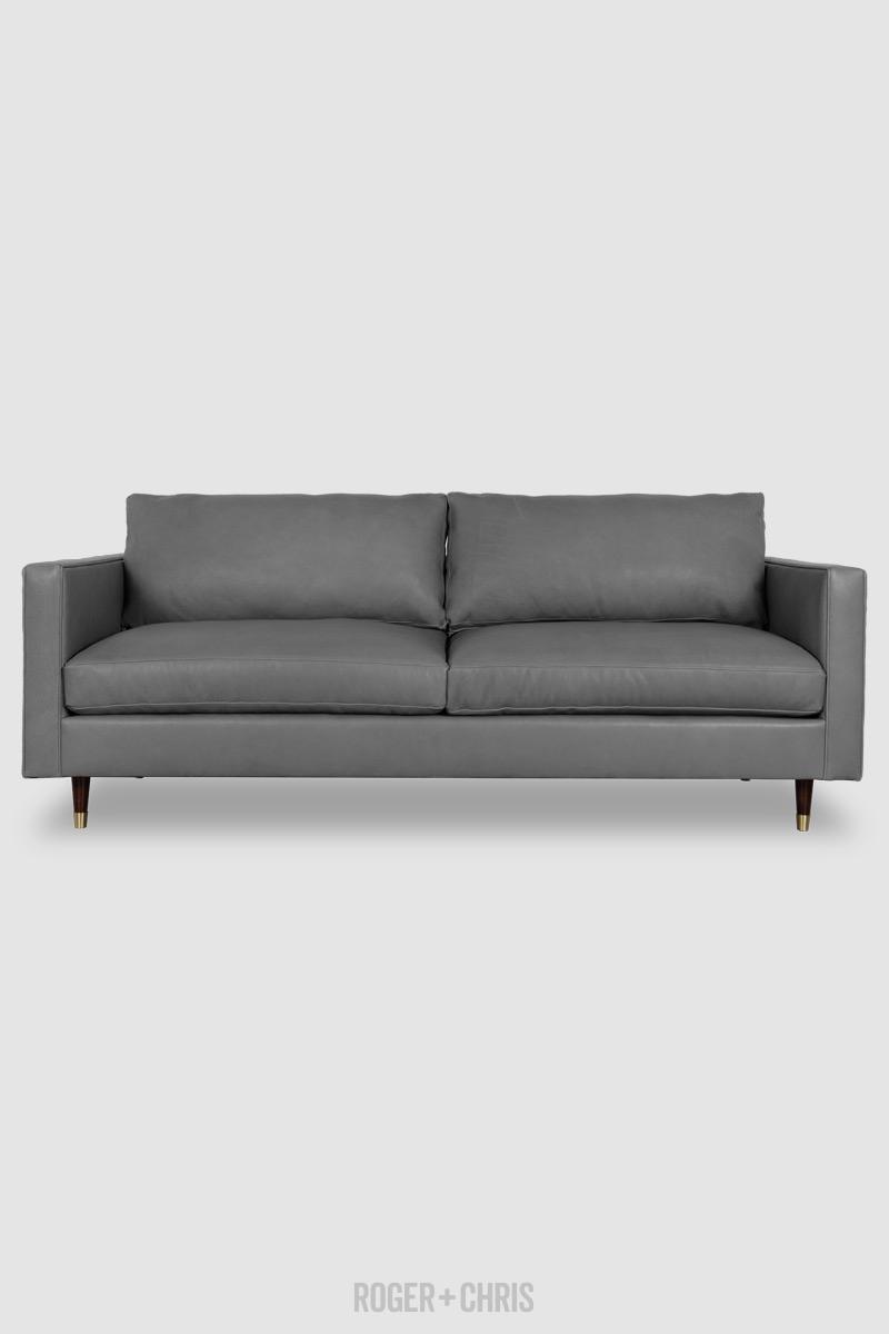 Natalie Midcentury Modern Sofa In Velveteen Wolf 1215 Grey