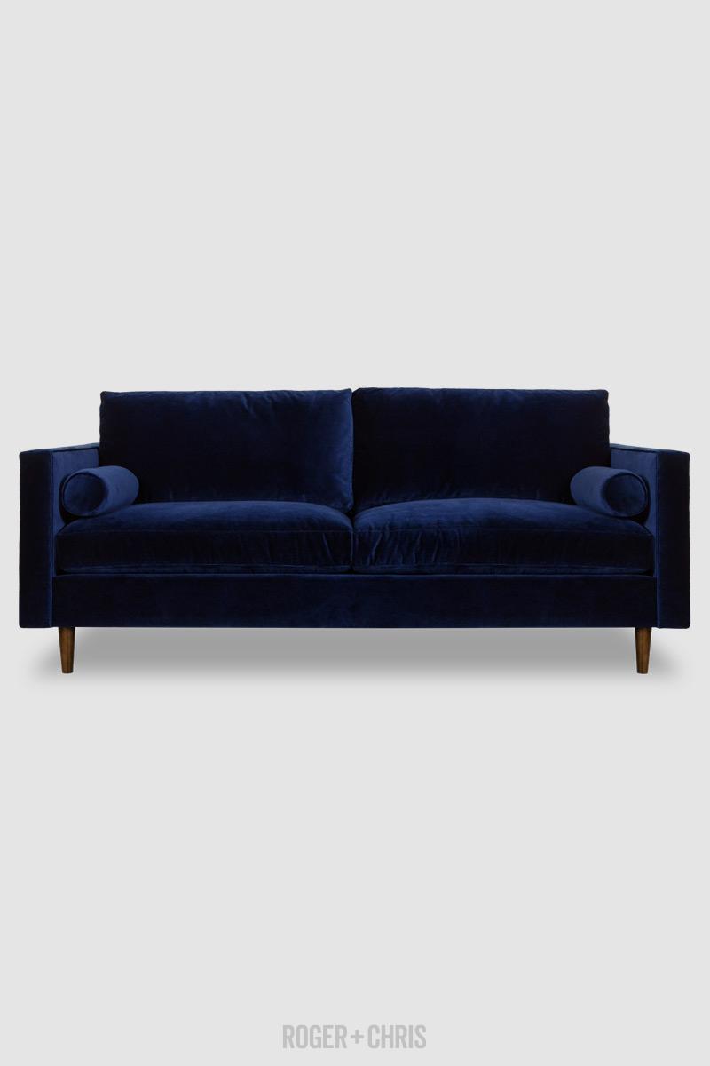 Natalie Midcentury Modern Sofa In Lafayette Indigo Blue
