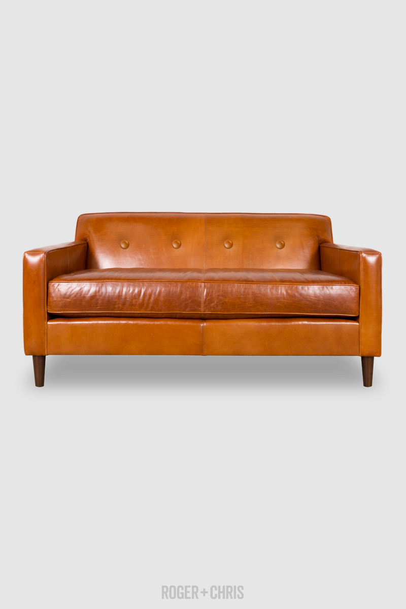 Mid-Century Modern Button-Back Track Arm Sofa