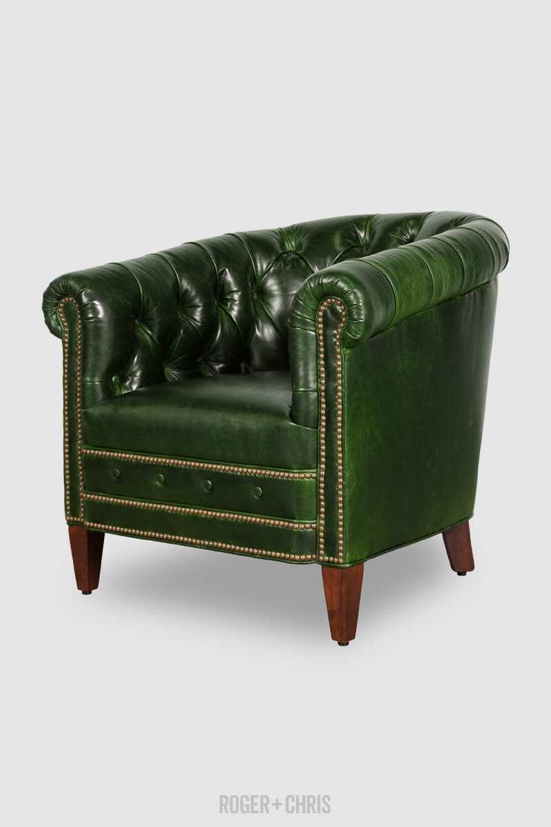 Collins Tufted Barrel Chair In Mont Blanc Evergreen