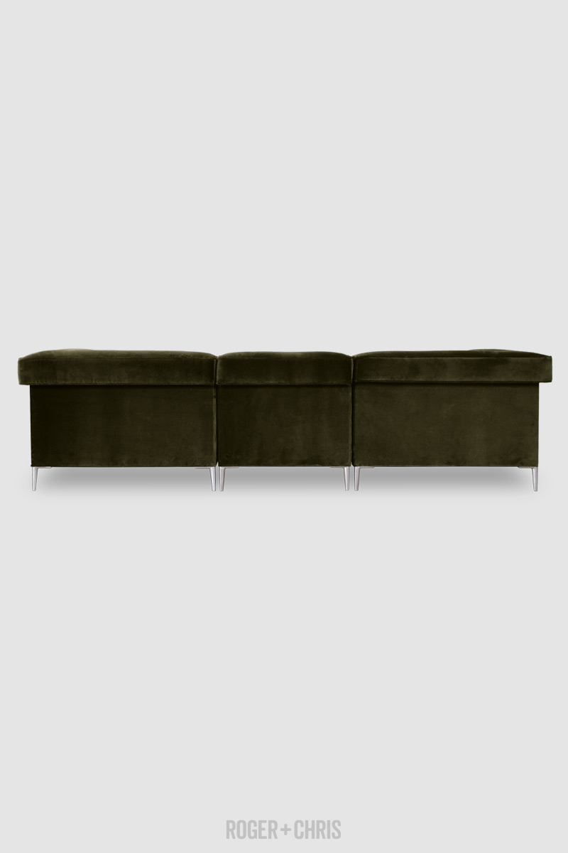 Picture of: Baxter Modular Sofa In Como Olive Green Velvet With Aluminum Legs Roger Chris