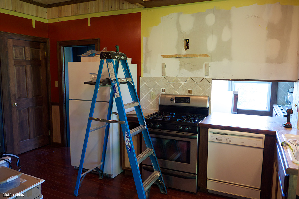Removing cabinets.